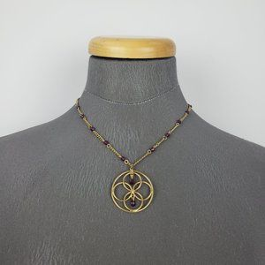 Avon Gold & Purple Necklace & Earrings